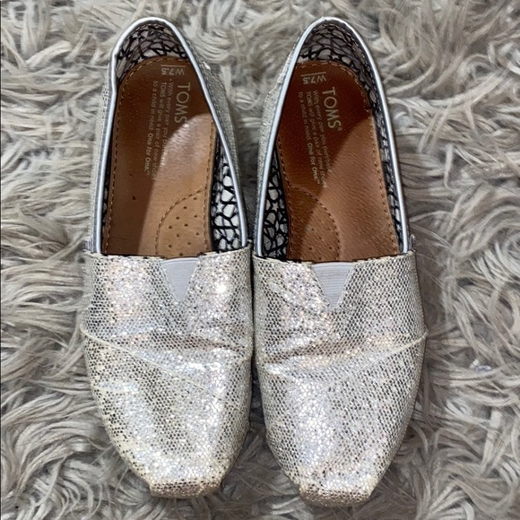 Toms Shoes | Silver Iridescent Glitter